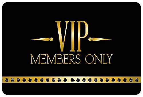 Felpudo con diseño de VIP Members Only de alta calidad, lavable, para exteriores, antideslizante, estampado en negro, 60 x 40 cm