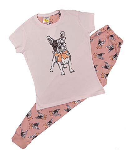 Mädchen Schlafanzug Einhorn Kurz & Lang Pyjama Junge bis Teenager Gr. 9-10 Jahre, Französische Bulldogge lang