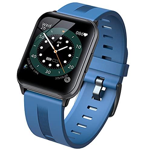 QFSLR Smartwatch, Reloj Inteligente con Monitor De Frecuencia Cardíaca Monitoreo De Oxígeno En Sangre Monitoreo De Temperatura De Reloj Inteligente Hombres Y Mujeres,Azul