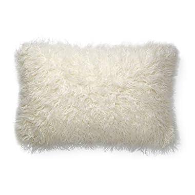 Now House by Jonathan Adler Faux Mongolian Fur Lumbar Pillow, White