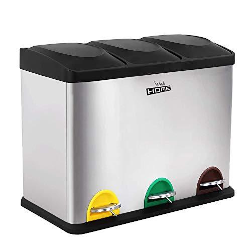 Wellhome Cubo ecológico 3 Compartimentos, Basura/Cubos de Reciclaje, Gran Capacidad, para Papel, Vidrio y Plástico, Ideal para Hogar/Oficina/Interior/Exterior, Cromado, 45 litros (15x3)