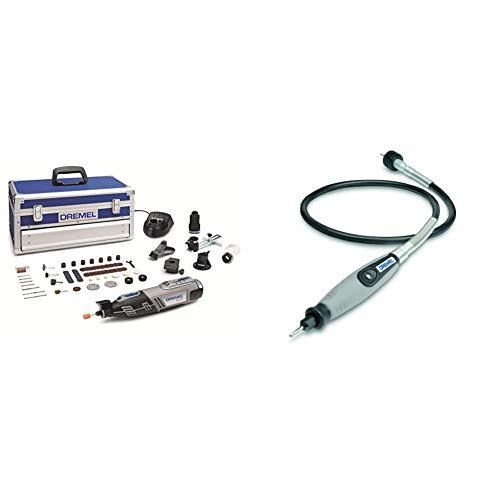 Outil Rotatif Multifonction Dremel 8220 Sans-fil 12V avec 5 Adaptations 65 Accessoires & Arbre Flexible Dremel 225 pour Rallonger et Atteindre - Adaptateur à Arbre Longueur