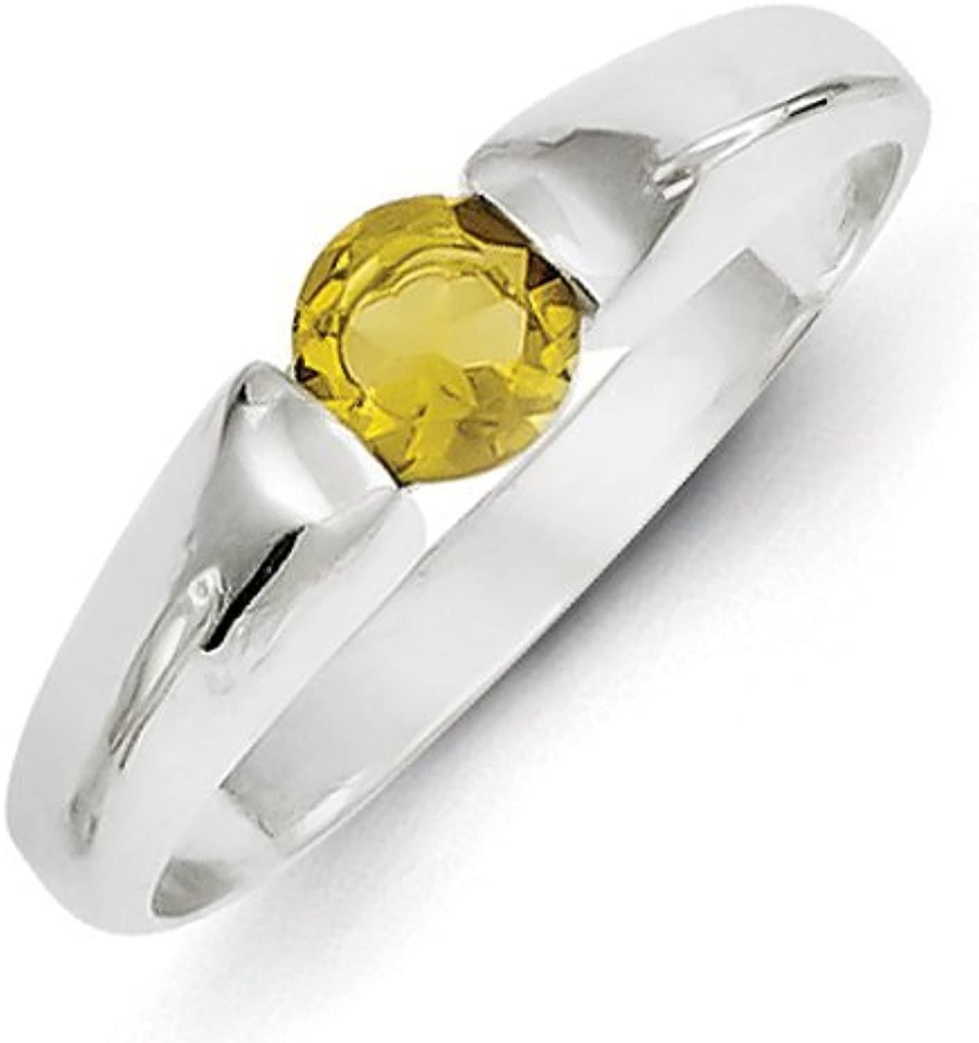 gold and Watches Sterling Silver Yellow Round CZ Ring