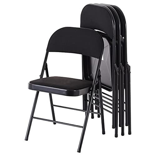 Raburg Gästestuhl 4er Set Elias in SCHWARZ mit Stoffbezug, Gestell in SCHWARZ, praktischer & kompakter Konferenz-Stuhl, stabiles Faltstuhl & Klappstuhl-Set aus Stahl, klappbar, belastbar bis 130 kg