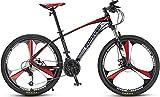 Bicicleta de montaña para adultos, no marca Forever con asiento ajustable, 30 velocidades, marco de aleación de aluminio, color Llanta de aleación de 26 pulgadas de color negro y rojo, tamaño 26''