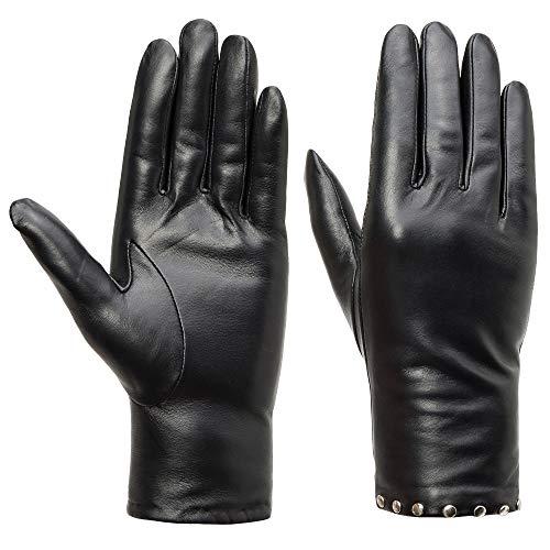 Acdyion Damen Echtleder Kaschmirfutter Handschuhe mit Nieten Touchscreen Kaschmirfutter Lederhandschuhe Winter warme Fahren Handschuhe mit Nieten als Deko (S)