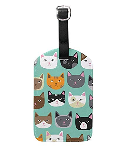 Cooper girl Cute Cat Luggage Tag Travel ID Label Leather for Baggage Suitcase 2 Piece