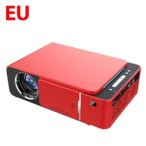 Fancylande Mini-projector, draagbaar, full HD, LED, 4 K, 3D, 1080P, beamer voor thuisbioscoop, Android 9.0, WiFi, met IR-aansluiting, USB, AV, HDMI, SD-kaart T6, 3500 Safety, EU Rosso, EU Rosso