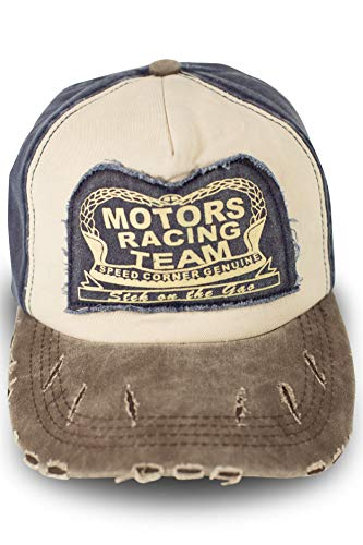 fashionchimp ® Baseballcap im Vintage Used-Look aus Baumwolle, Trucker, Unisex Jeans Denim Cap (Blau)