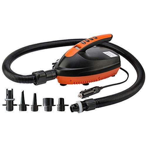 CeFoney Compresor de bomba de aire eléctrico, bomba de aire de 12 V 16 PSI con pantalla digital, inflador de aire rápido con 6 boquillas de aire para tabla de remo de pie, piscina con 6 boquillas