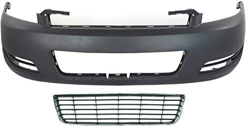 Auto Body Repair Compatible with 2006-2011 Chevrolet Impala with Bumper Cover and Grille Assembly Set of 2