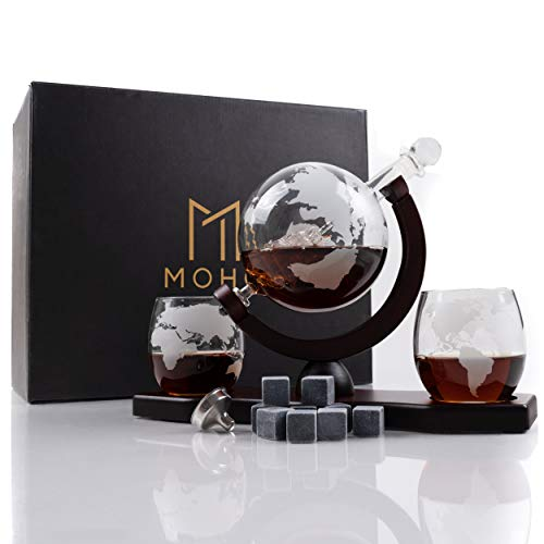 Moho Premium Whiskey Decanter Gift Set | Handmade Globe Decanter Set | 2 Glasses | Ship In a Bottle | Perfect Gift | Man Cave Decor | Bourbon, Scotch | Glass Globe Tequila Decanter | Includes 9 Stones