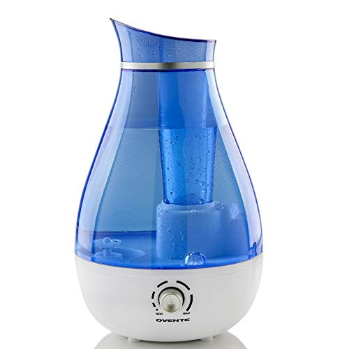 Humidifier Ultrasonic Quiet Air Cool Pure Mist with 2.5 Liter Easy Fill & Clean Water Tank Adjustable Moisture Level Compact Night Blue Light Portable for office Bedroom Nursery Blue - OVENTE HMD625BL