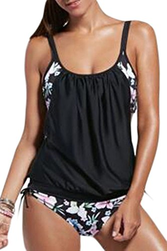 Dokotoo Womens Stripes Lined Up Double Up Tankini Top Bikini Swimwear,(US 18-20)XXL,Black Flower