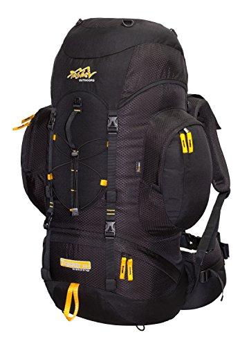Tashev Outdoors Tracker Trekkingrucksack Wanderrucksack Damen Herren Backpacker Rucksack groß 55L (Hergestellt in EU) (Schwarz & Gelb (aus Cordura))