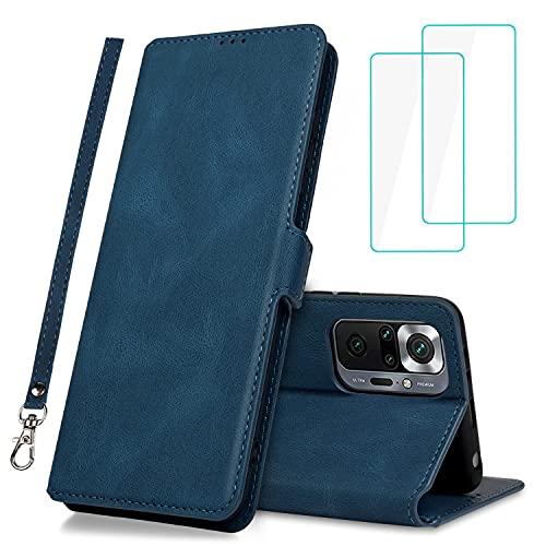 Foreverluck Hülle for Xiaomi Redmi Note 10 Pro/Pro Max, [Verbessern Leder] Haltbarer +, Magnet Klapphülle Stoßfest Handyhülle with 2 Stück Panzerglas Schutzfolie and Armband, Blau