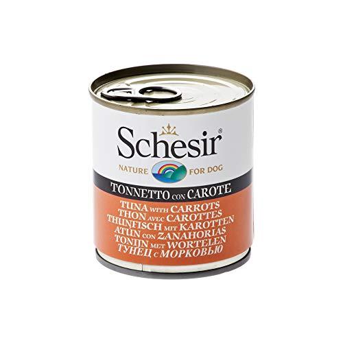 Schesir Comida Húmeda para Perro Atún con Zanahoria - Paquete de 16 x 285 gr - Total: 4560 gr