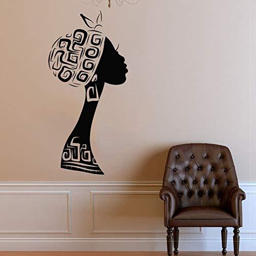 Pendientes calcomanía de pared cuello largo mujer africana arte ventana vinilo pegatina salón de belleza moda niñas dormitorio decoración