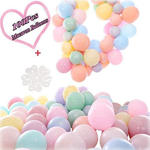 ZHOUZHOU 100 Stücke Latex Farbige Ballons,10 Blume Clips,Ballons Pastell Macaron,für Party Dekorative Ballons,Hochzeit Geburtstagsparty Babyparty Valentinstag Dekoration