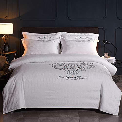 Teyun. Cotton warme Leinen Sticken Bettbezug-Set mit Bettlaken Kissenbezug Weiß 4 Stück (Size : King)