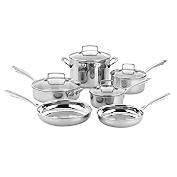 Cuisinart TPS-10 10 Piece Classic Tri-ply Stainless Steel Cookware Set PC Silver