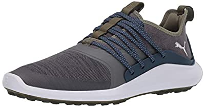 PUMA mens Ignite Nxt Solelace Golf Shoe, Quiet Shade-metallic Silver-dark Denim, 10.5 US