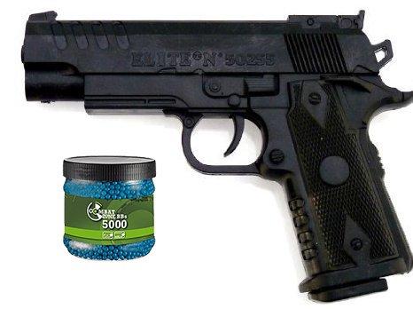 G8DS Set Sport Softair Pistole Waffe 0,5 Joule ab 14 Jahren freigegeben 6mm + Umarex Combat Zone Softairkugeln blau 6mm 0,12g 5000 BBS