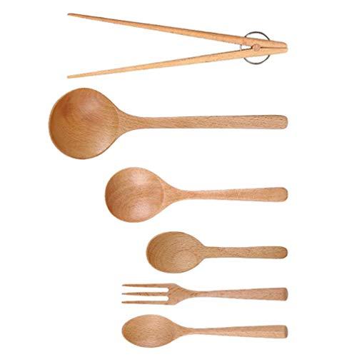 Hemoton Juego de 6 utensilios de madera con tenedores de madera, palillos, cucharas, cucharas de sopa de madera para niños japoneses, arroz, postres