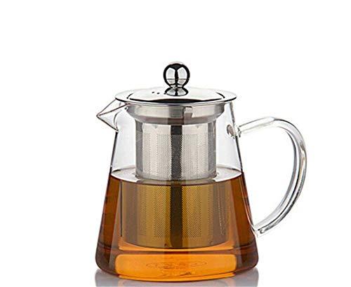 JiangKui Tetera de Vidrio Transparente Tetera de Calentamiento Directo Tetera de Vidrio de Borosilicato de Gran Capacidad Infusor Perfecto para Tetera Y Cafetera