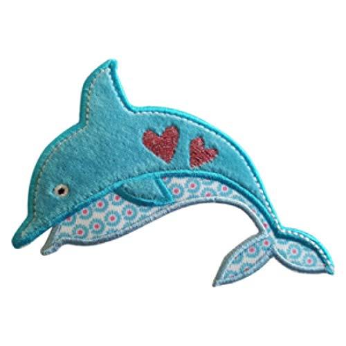 TrickyBoo 2 patches om op te strijken, dolfijn, 9 x 9 cm, muis 6 x 11 cm, borduursel voor kleding, jeans, jas, kinderen, dames, met tekening Zürich Zwitserland voor Frankrijk