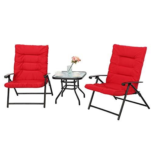 PHI VILLA 3 PC Padded Folding Bistro Set Patio Adjustable Reclining Indoor Outdoor Furniture, Red