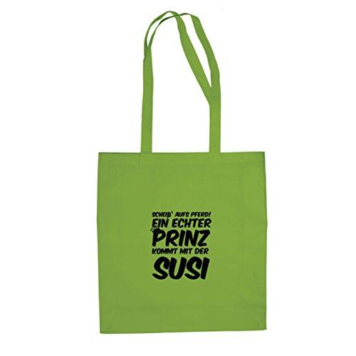 Planet Nerd Ein echter Prinz kommt mit der Susi - Stofftasche/Beutel, Farbe: hellgrün