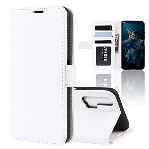 LICHONGGUI Custodia in Pelle Flip Orizzontale Pieghevole R64 Texture for Huawei Honor 20 PRO, con Porta-Carte e Portafogli e Portafogli (Nero) (Colore : Bianca)