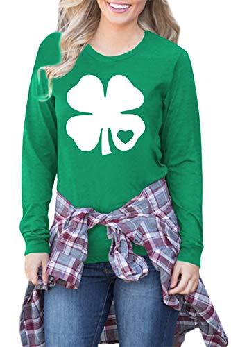 St Patrick's Day Shirt for Women Green Irish Shamrock Printed Long Sleeve Top Clover S