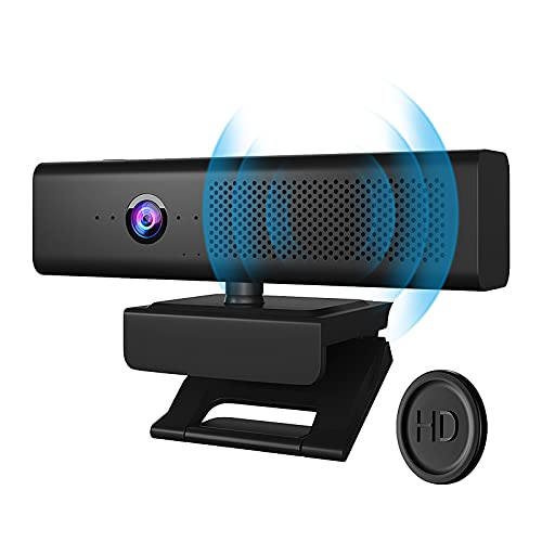 Full HD 1080P Computer Camera with 4 Built-in Omnidirectional Microphones and Speaker for Video Conference Streaming, USB External Webcam with Magnetic Privacy Cover for Desktop Monitor Laptop