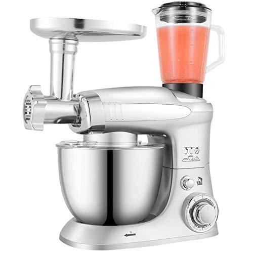 Keukenmachine met 6 snelheidsniveaus, 1000 W, inhoud 4 lepels van roestvrij staal, voor keuken, salade, deegmachine, cake, mixer, zilver