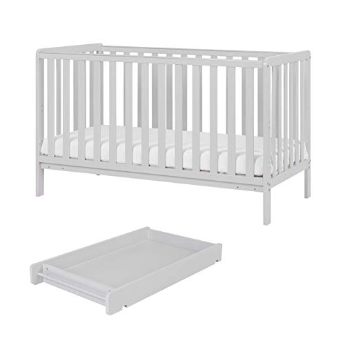 Malmo Wooden Cot Bed & Cot Top Changer (Tutti Bambini) - 3 in 1 Convertible Baby Cot Bed, Toddler Bed and Matching Cot Top Baby Changer (Dove Grey)