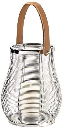 EDZARD Laterne Irving, mit Glaseinsatz, Edelstahl vernickelt, Höhe 32 cm