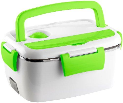 Rosenstein & Söhne Wärmebox: Elektrische Edelstahl-Thermo-Lunchbox, 2 Fächer und Löffel, 40 Watt (Wärmende Lunchbox)