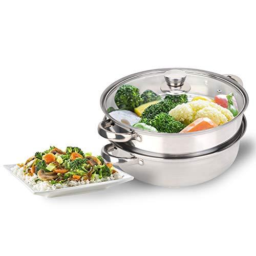 Edelstahl Dampfer,27cm / 11in 2-Schicht-Dampfer-Topf Edelstahl Dampf Topf Gemüse Eier Dampfende Garnele Suppe Nahrungsmitteldoppelkessel Dampfendes Kochgeschirr