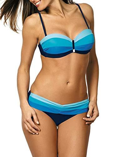 Itsmode – Bikini para Mujer, Juego de Dos Piezas, Traje de baño, Tankini, Bikini Sexy, bañador, Push up Bandeau Azul Celeste M