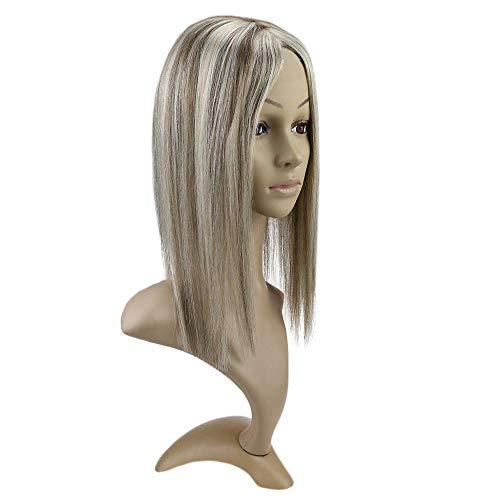 Easyouth 18 Zoll Einteiliger Clip auf Echthaar Kronenkorken Mono Haar Farbe # 8 Aschblondes Highlight mit Farbe # 60 Blonde Kappengröße 13 * 8 Zoll Freier Teil Menschliche Haarverlängerung.