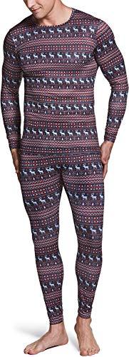 TSLA Men's Thermal Underwear Set, Microfiber Soft Fleece Lined Long Johns, Winter Warm Base Layer Top & Bottom, Thermal Fleece(mhs100) - Christmas, X-Large
