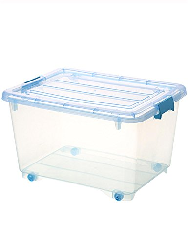 KKCF boîte de rangement Transparente épaisse Boîte de Rangement en Plastique Couvercle dépenses familiales (Couleur : Bleu)