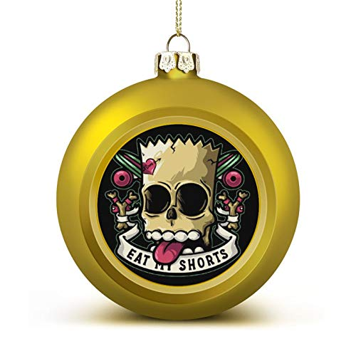WESD Bad to The Bone Bart Simpson Eat My Shorts Anti-Drop Christmas Ball Ornaments, Plastic Ornaments Christmas Balls, Various Holiday Party Decorations