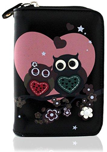 kukubird Owl Family Tree Pattern Medium Size Damen Geldbeutel-Handtasche - 37 BLACK