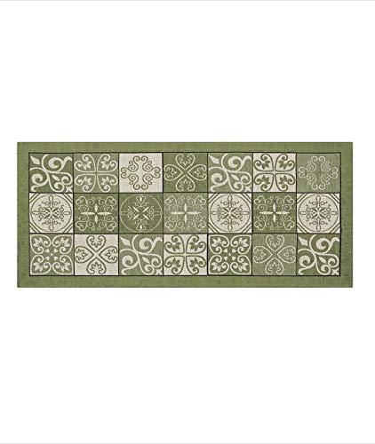 Suardi Tappeto Antiscivolo Made in Italy - Passatoia Moderna con Disegno Maiolica Lavabile - Tappeto Runner Lungo Colorato (Verde Salvia/Sage Green, 55x250)