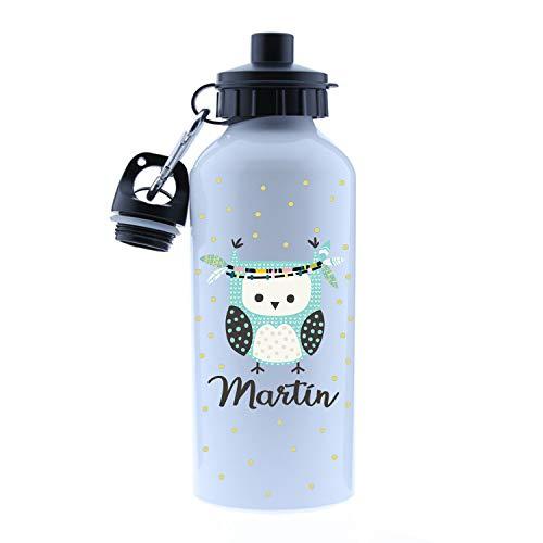 Kembilove – Cantimplora Infantil Personalizada – Botella de Aluminio Personalizada con el Nombre del Niño o Niña – Capacidad 500 ml peques – Cantimplora Buho