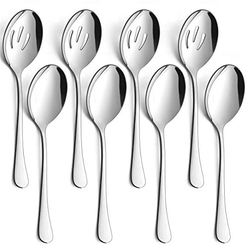 LIANYU 8 Pack Serving Spoons Slotted Serving Spoons 8 34 Inch Stainless Steel Serving Utensils Spoon Set for Banquet Catering Buffet Dinner Restaurant Party