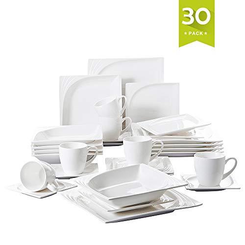 MALACASA, Série Monica, 30pcs Service de Table Complets Porcelaine, 6 Tasses, 6 Soucoupe, 6 Assiettes à Dessert, 6 Assiettes à Soupe, 6 Assiettes Plates 6 Personnes